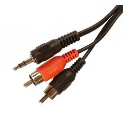 Przewód mały Jack 3,52 mm wtyk - 2 x RCA 3,0 m S091